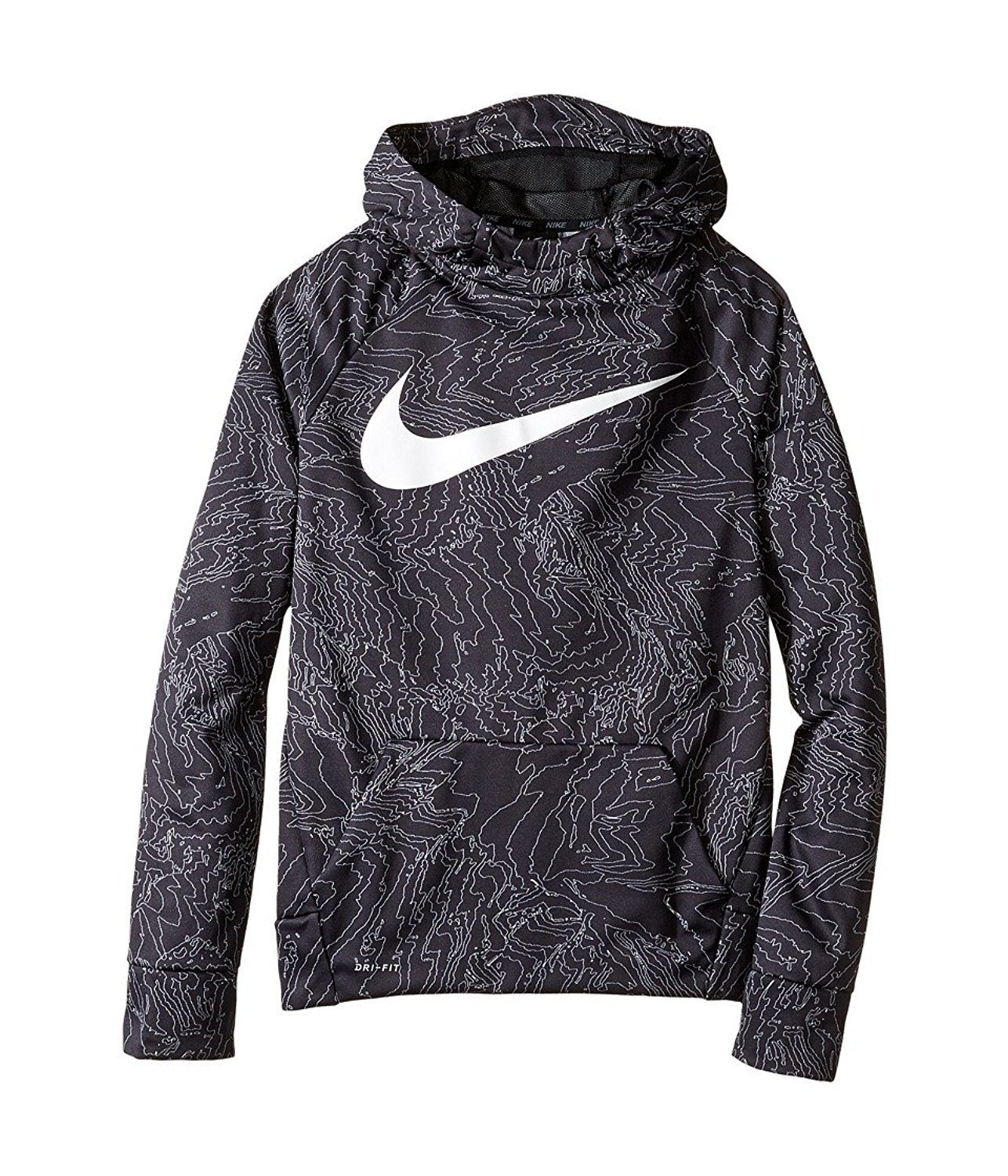 NIKE Therma Boys Printed Training Fleece Hoodie Pullover (l)