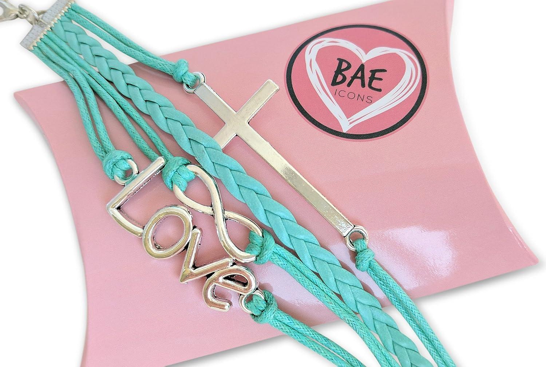 Amazon.com: BAE Icons Infinity Love & Cross Jesus Bracelet ...