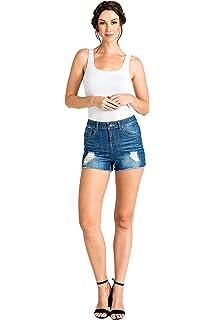 Standards /& Practices Modern Womens Stretch Denim Dip Dyed Frayed Denim Shorts