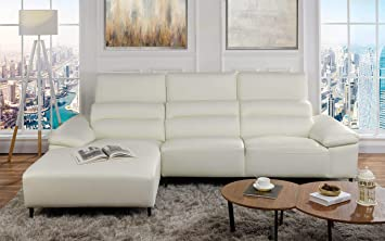 Leather Match Sectional Sofa, L-Shape Couch with Chaise Lounge (Left Chaise, White)