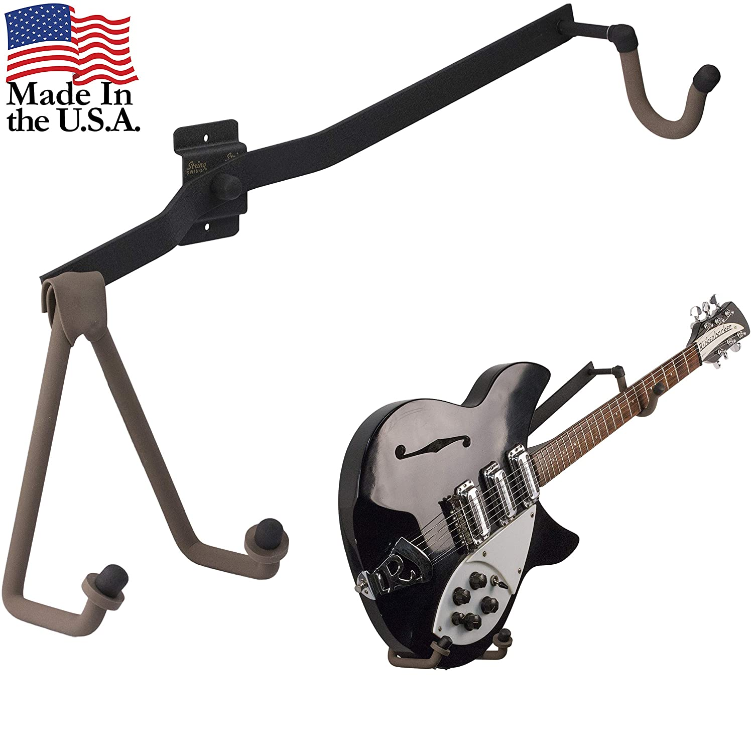Angled Guitar Wall Hanger Display for Electric and Thin Body Guitars Classic...