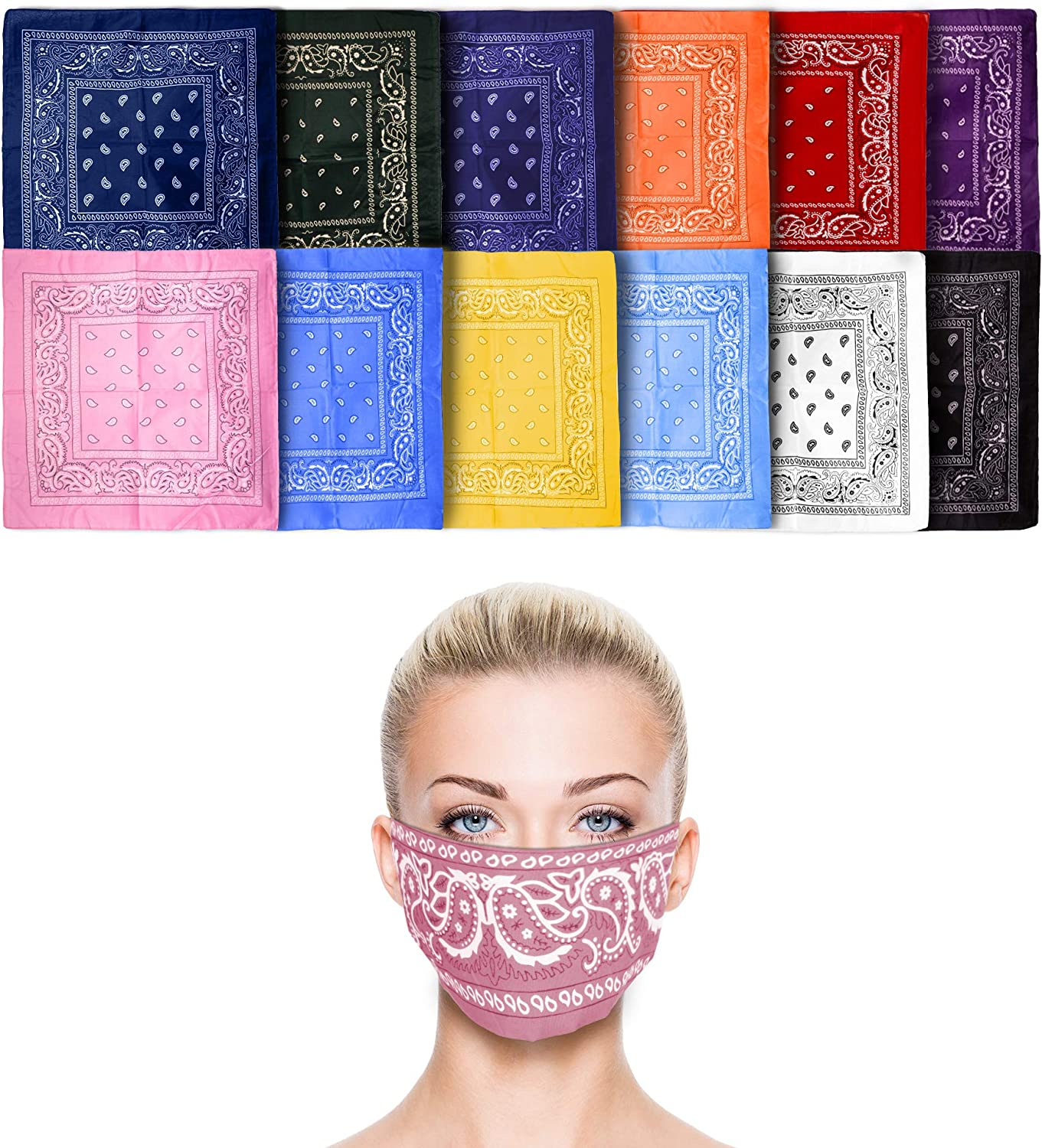 12pk Assort- Two Tones Basico 100/% Cotton Head Wrap Bandanas 12 Pack with Tube Face Mask//Headband