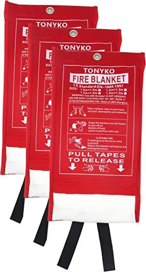 Tonyko Fiberglass Fire Blanket for Emergency Surival, Flame Retardant Protection and Heat Insulation with Various Sizes(3Pack (39.3×39.3 inches))