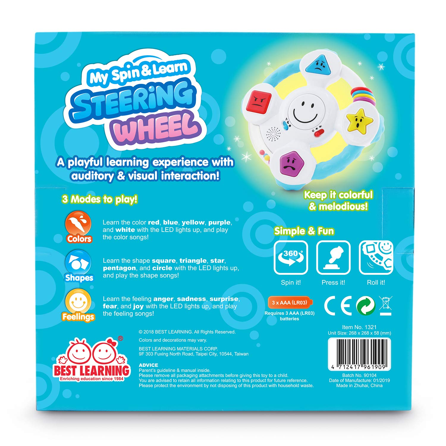 BEST LEARNING My Spin & Learn Steering Wheel - Interactive Educational Light-Up Toddler Toys for 6-36 Months Old Infants & Toddlers - Colors, Shapes, Emotions & Music Game for Babies by BEST LEARNING (Image #8)