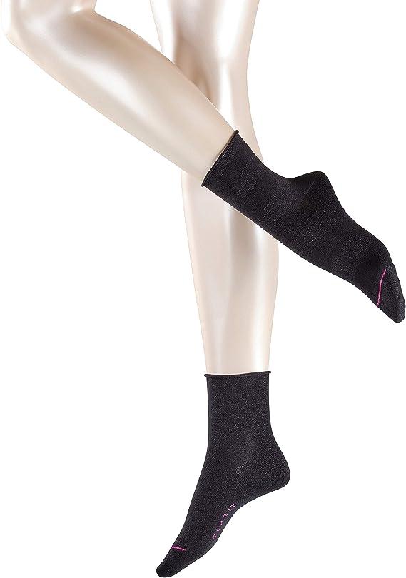 2 Paar Strumpf aus hautsymphatischer Baumwolle und schimmernden Effektgarn Versch ESPRIT Damen Socken Sparkling Diamond 2er Pack Farben Baumwollmischung Gr/ö/ße 35-42