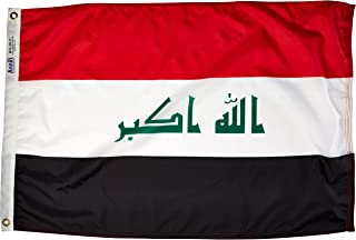 product image for Annin Flagmakers Model 193852 Iraq Flag Nylon SolarGuard NYL-Glo, 2x3 ft, 100% Made in USA to Official United Nations Design Specifications