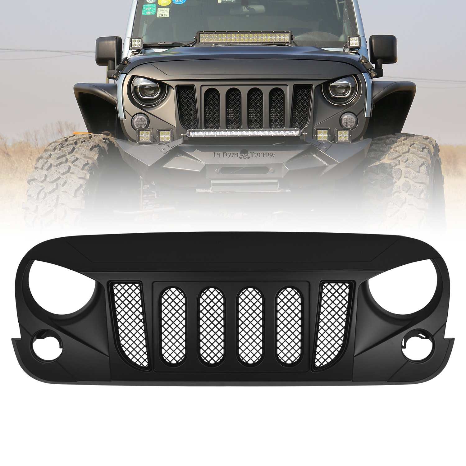 Replacement for Jeep JK Grill Covers Rubicon Sahara Sport JK /& Unlimited 2007-2018 Matte Black ORFORD Grille Guard for Jeep Wrangler