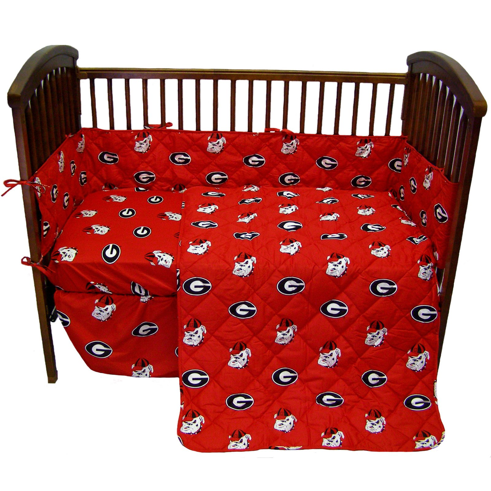 Georgia Bulldogs 5 Piece Crib Set - Entire Set includes: (1) Reversible Comforter, (1) Bed Skirt , (2) Fitted Sheets and (1) Bumper Pad - Decorate Your Nursery and Save Big By Bundling!