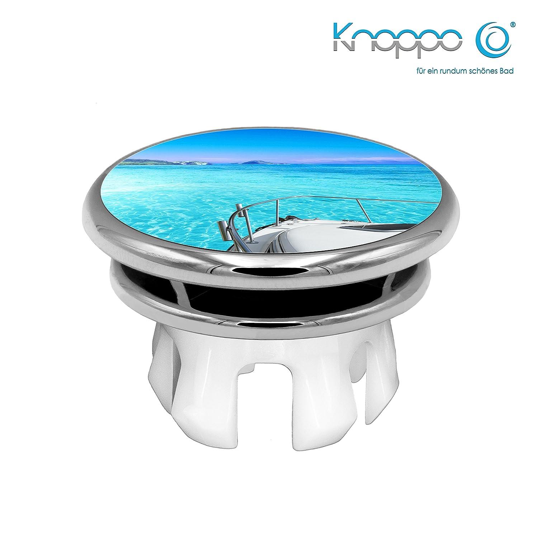 KNOPPO® Waschbecken Überlauf Abdeckung, Überlaufblende, Überlaufrosette - Mirror Yacht Motiv (chrom)