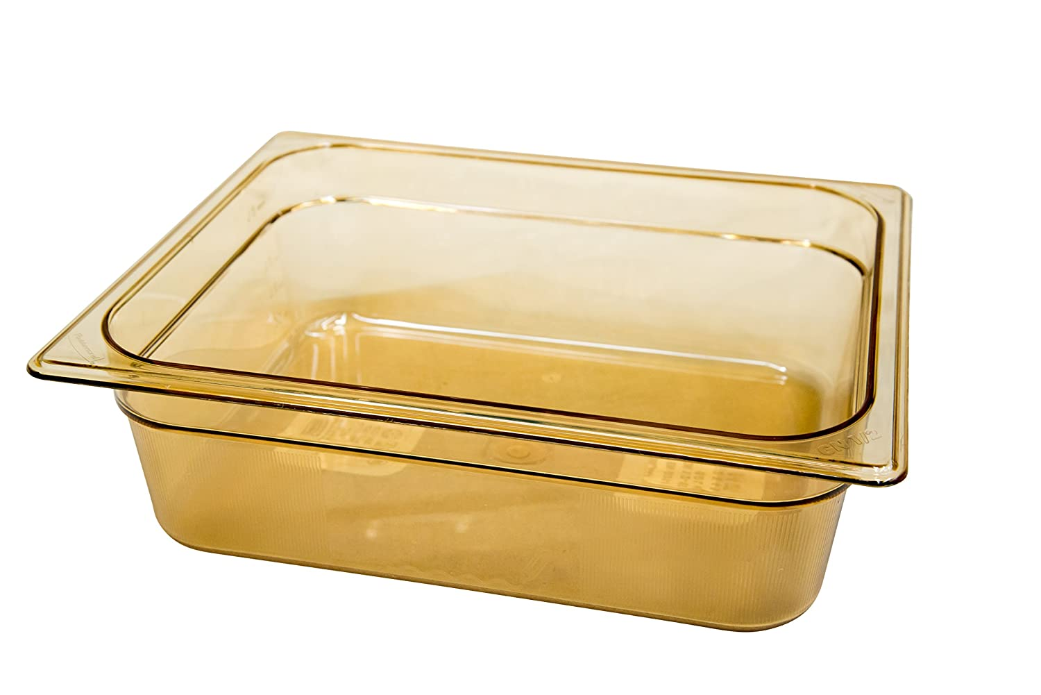 Rubbermaid Commercial Products Hot Food Insert Pan for Restaurants/Kitchens/Cafeterias, 1/2 Size, 4 Inches Deep, Amber (FG224P00AMBR)