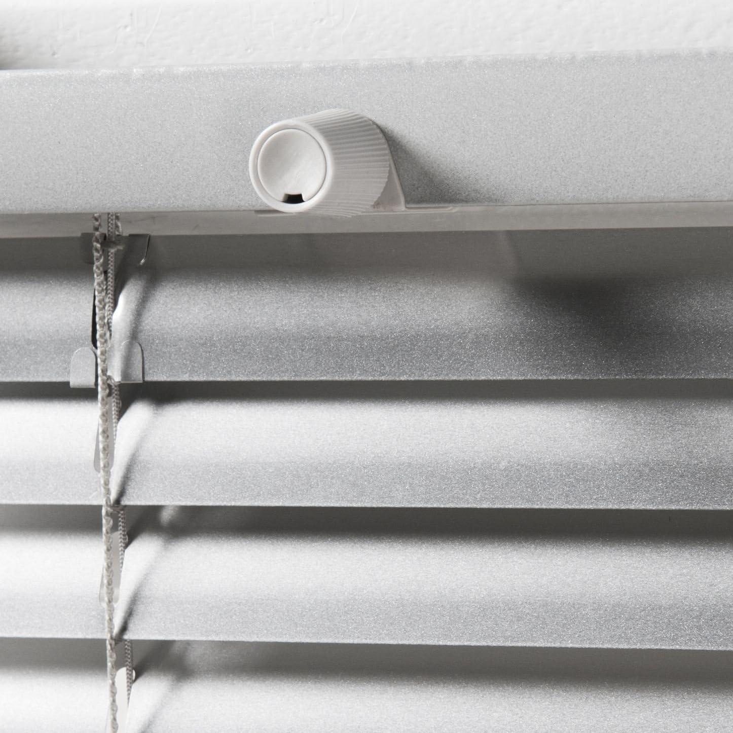 Estor de láminas de aluminio pkv, laminar estor plisado PAL plata montaje sin taladrar 60 cm de ancho x 130 cm de altura ajustable con tensores: Amazon.es: Hogar