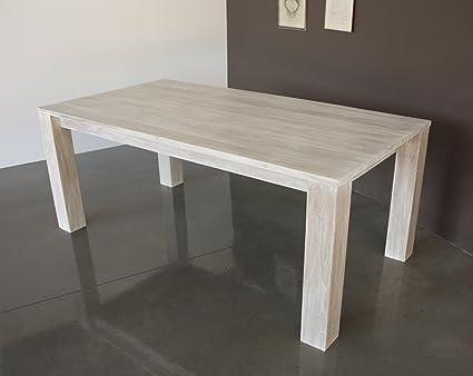 Tavolo Shabby in legno di Teak finitura bianco decapato - ARREDO SHABBY  CHIC PREZZI OUTLET