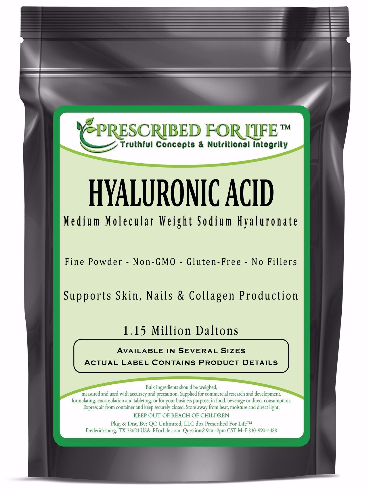 Hyaluronic Acid - Natural Food Grade Sodium Hyaluronate (HA) Powder - Medium Molecular Weight 1.15 mil Daltons, 5 lb