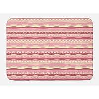 Lunarable Dusty Rose Bath Mat, Doodle Style Waves Horizontal Stripes Simplistic Cute Cheerful, Plush Bathroom Decor Mat Non Slip Backing, Dried Rose Pale Pink Cream