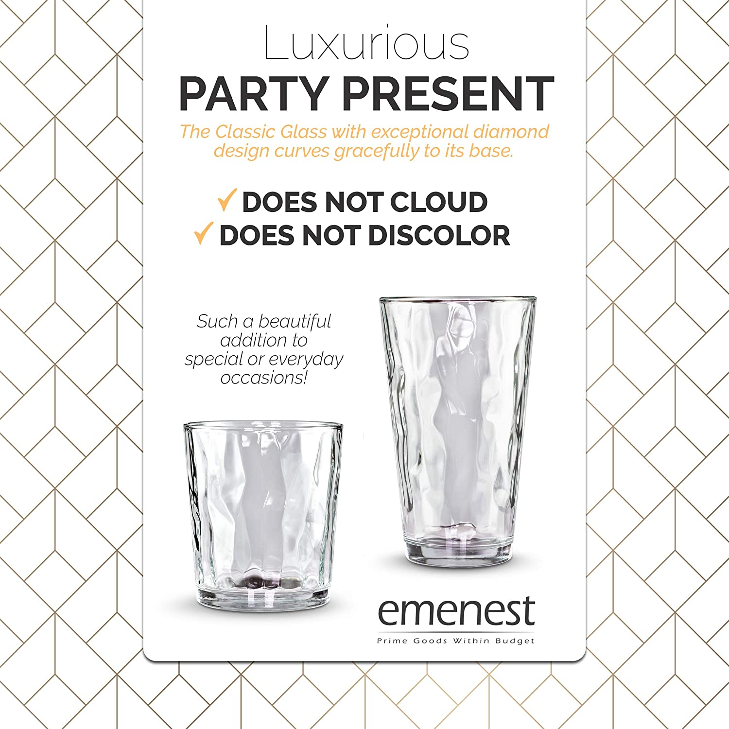 Emenest Clear Drinking Glasses Cocktails | Real Glassware with Heavy Base Whiskey Best Kitchen Gift 4 Double Old Fashioned Drinkware Tumbler Set For Water Set of 4 12.5oz