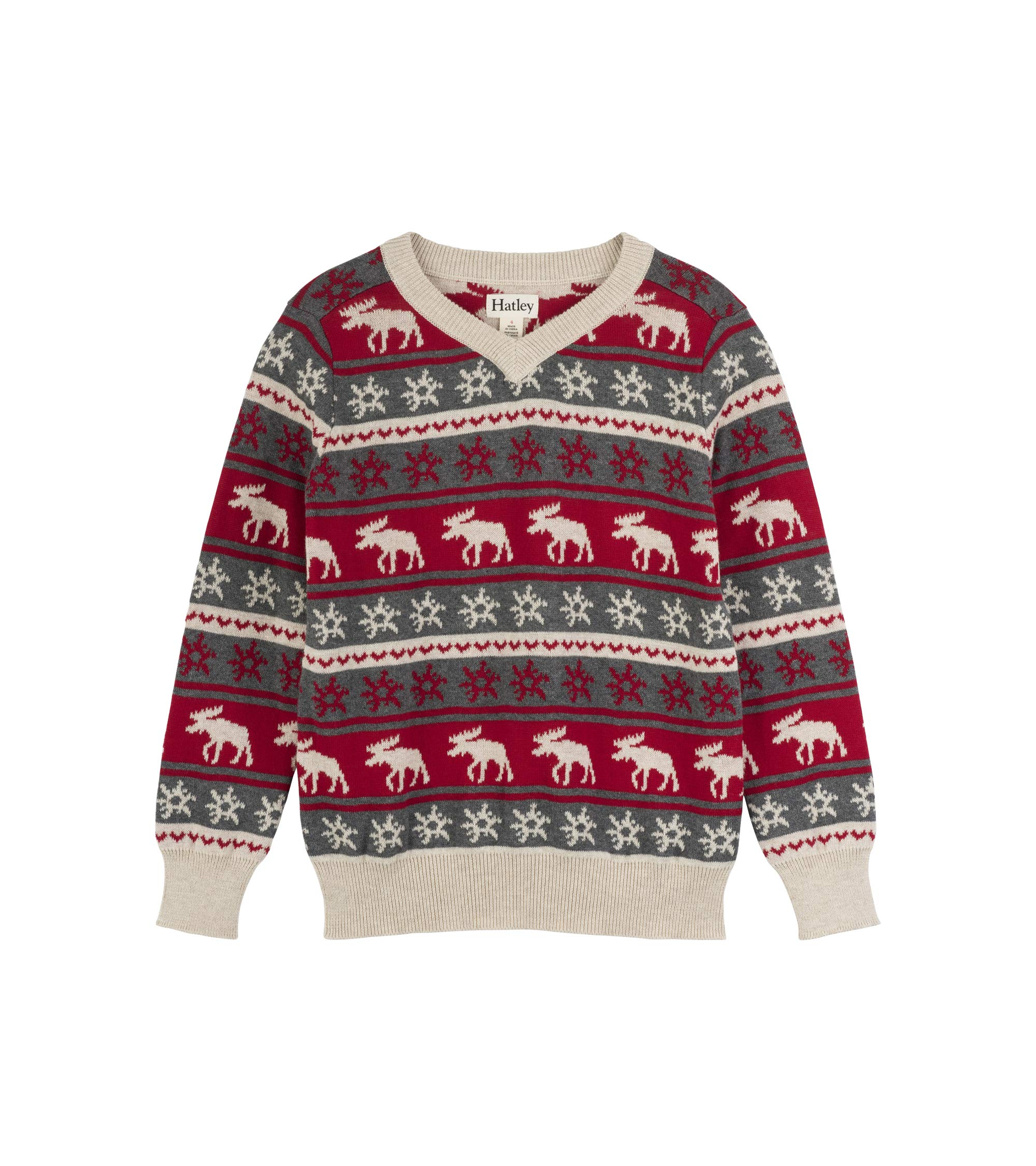 Hatley Boys' Little V-Neck Sweaters, fair isle Mouse, 5 Years