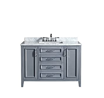 Ove Decors Daniel Gray Bathroom Vanity In Gray With Carrera - 48 inch grey bathroom vanity