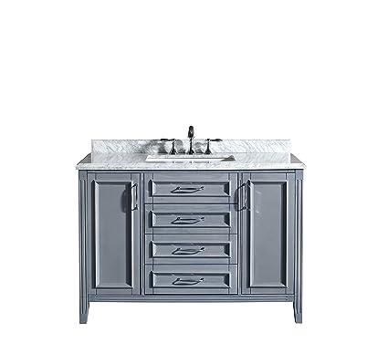 ove decors daniel 48 gray bathroom vanity in gray with carrera marble vanity top 48 - Bathroom Vanity Top