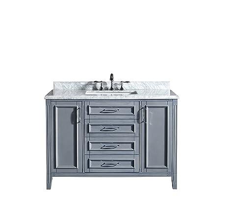 Ove Decors Daniel 48 Gray Bathroom Vanity In Gray With Carrera Marble Vanity  Top, 48
