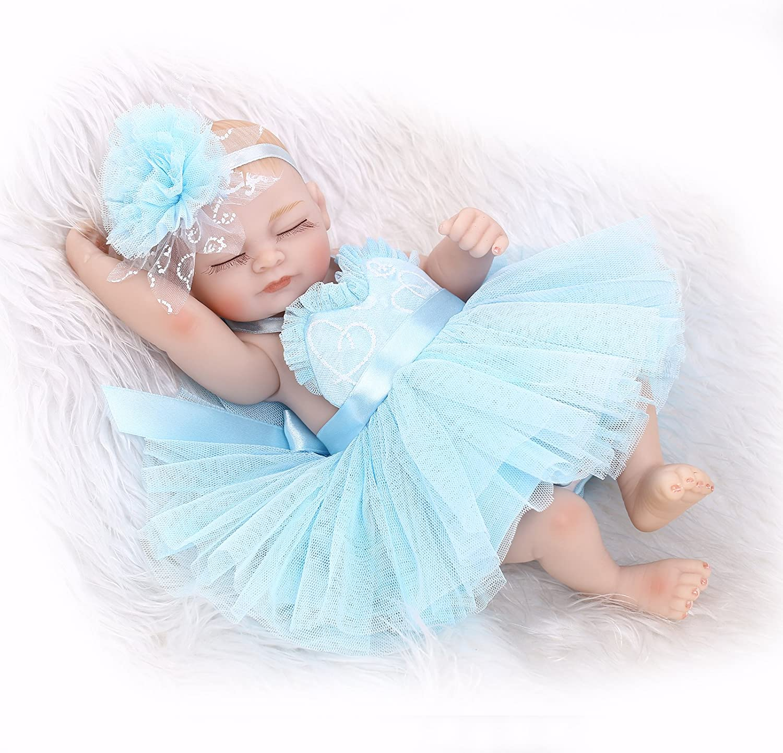 "Lovely 10/"" Reborn Baby Dolls Preemie Girl Silicone Full Body Bebe with Hair"