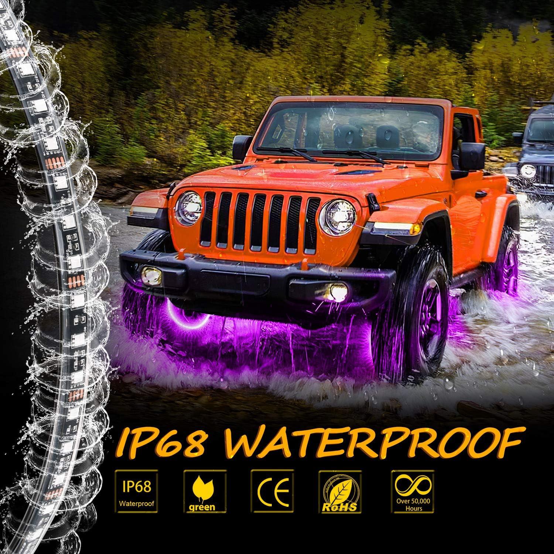 Niwaker 4Pcs 15.5inch RGB LED Wheel Ring Light with Bluetooth Control w//Turn Signal and Braking Function Waterproof Heavy-Duty Aluminum Wheel Ring Light Kit for Car Truck Pickup