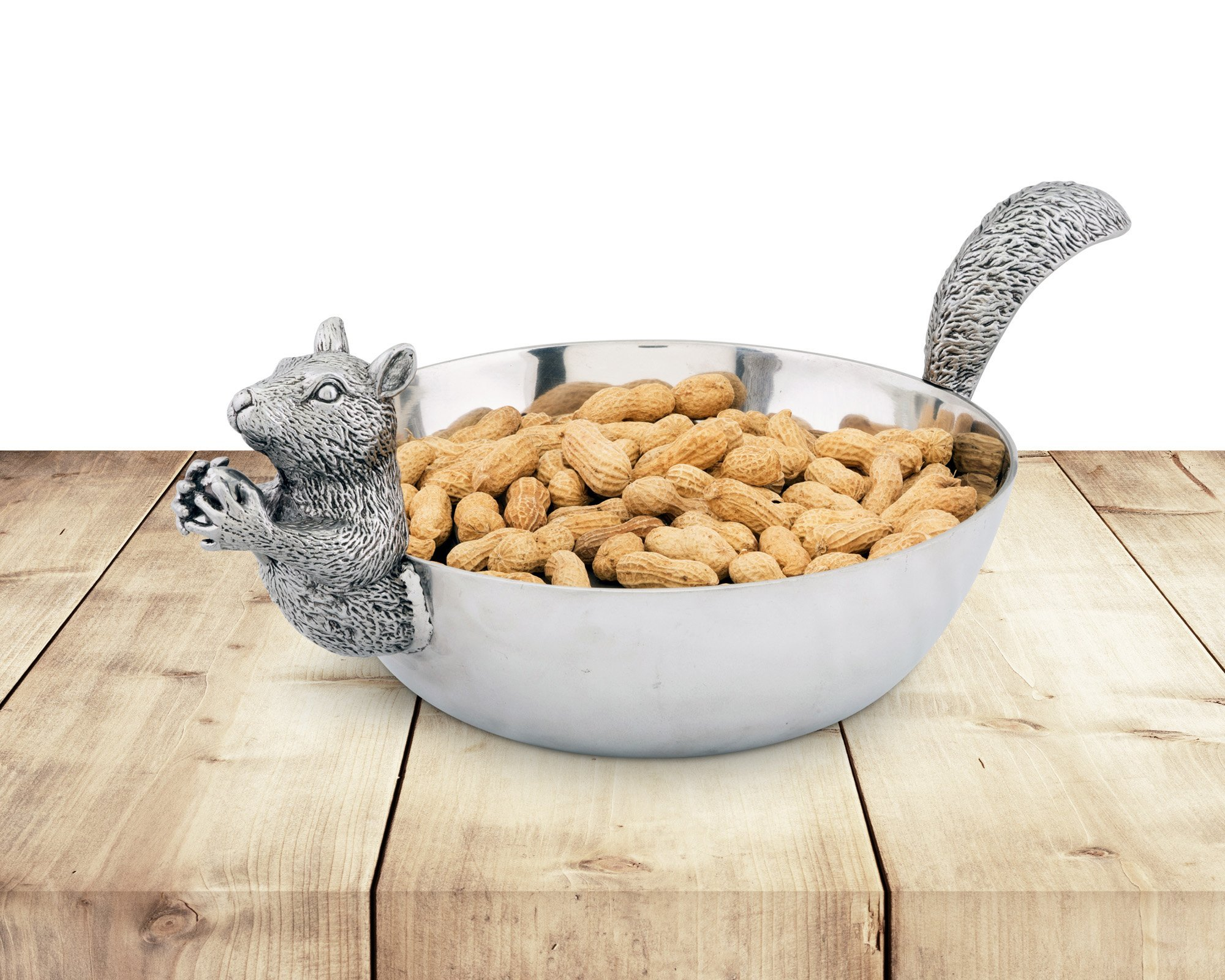 Arthur Court Designs Aluminum Large Squirrel Head and Tail Nut Bowl 13'' Long