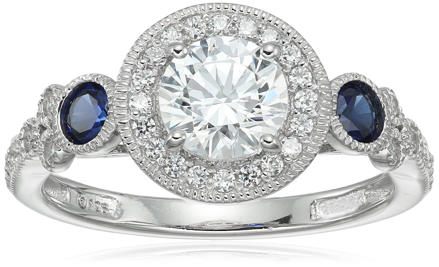 Platinum-Plated Sterling Silver Swarovski Zirconia Antique Round-Cut and Created Sapphire Ring size 7 by Amazon Collection