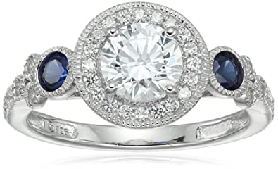 7c0b7d99cac69 Platinum-Plated Sterling Silver Swarovski Zirconia Antique Round-Cut and  Created Sapphire Ring