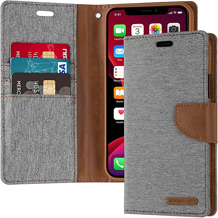 GOOSPERY Canvas Wallet for Apple iPhone 11 Pro Max Case (6.5 inches) Denim Stand Flip Cover (Gray) IP11PM-CAN-GRY