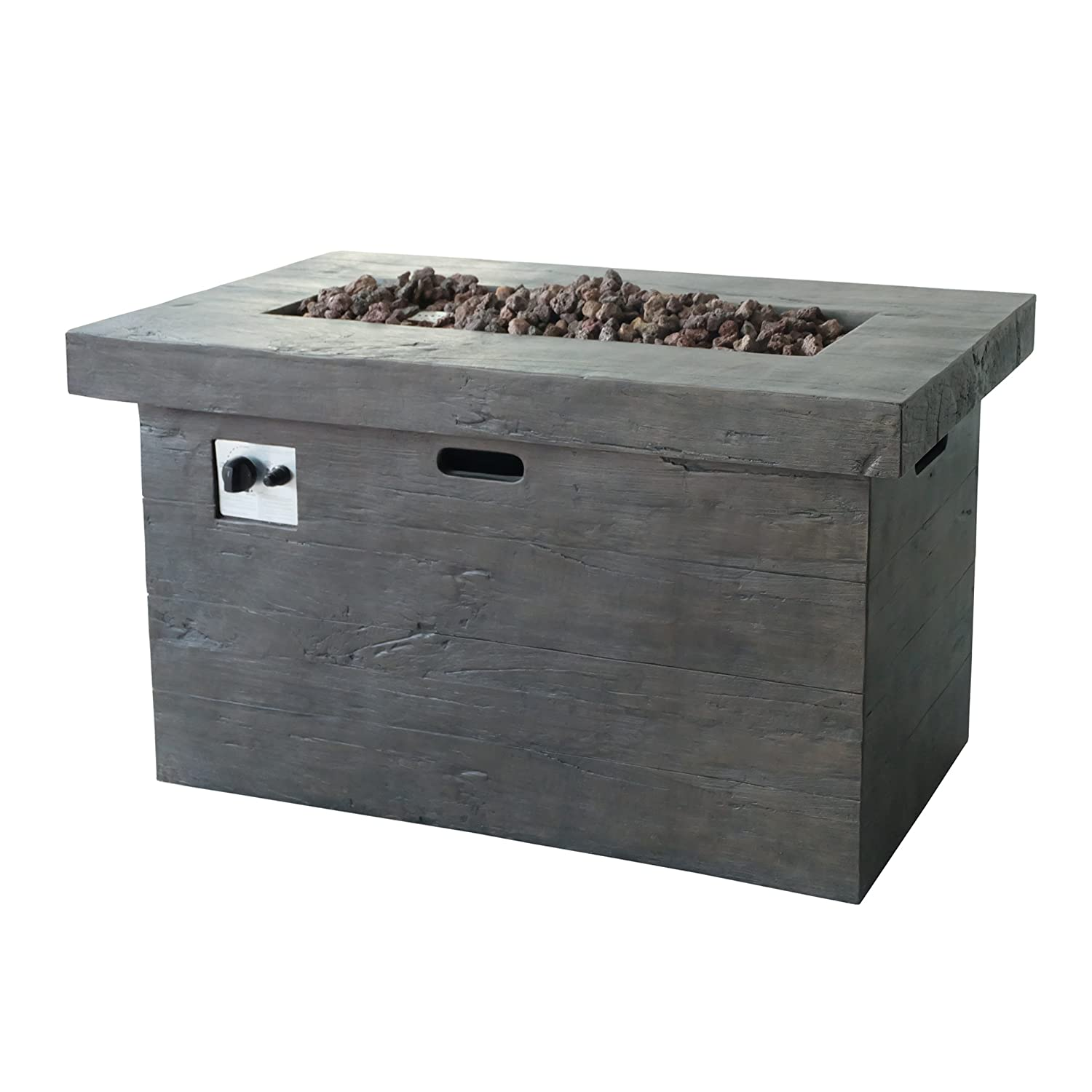 Brown Great Deal Furniture Crawford Outdoor Rectangular Fire Pit