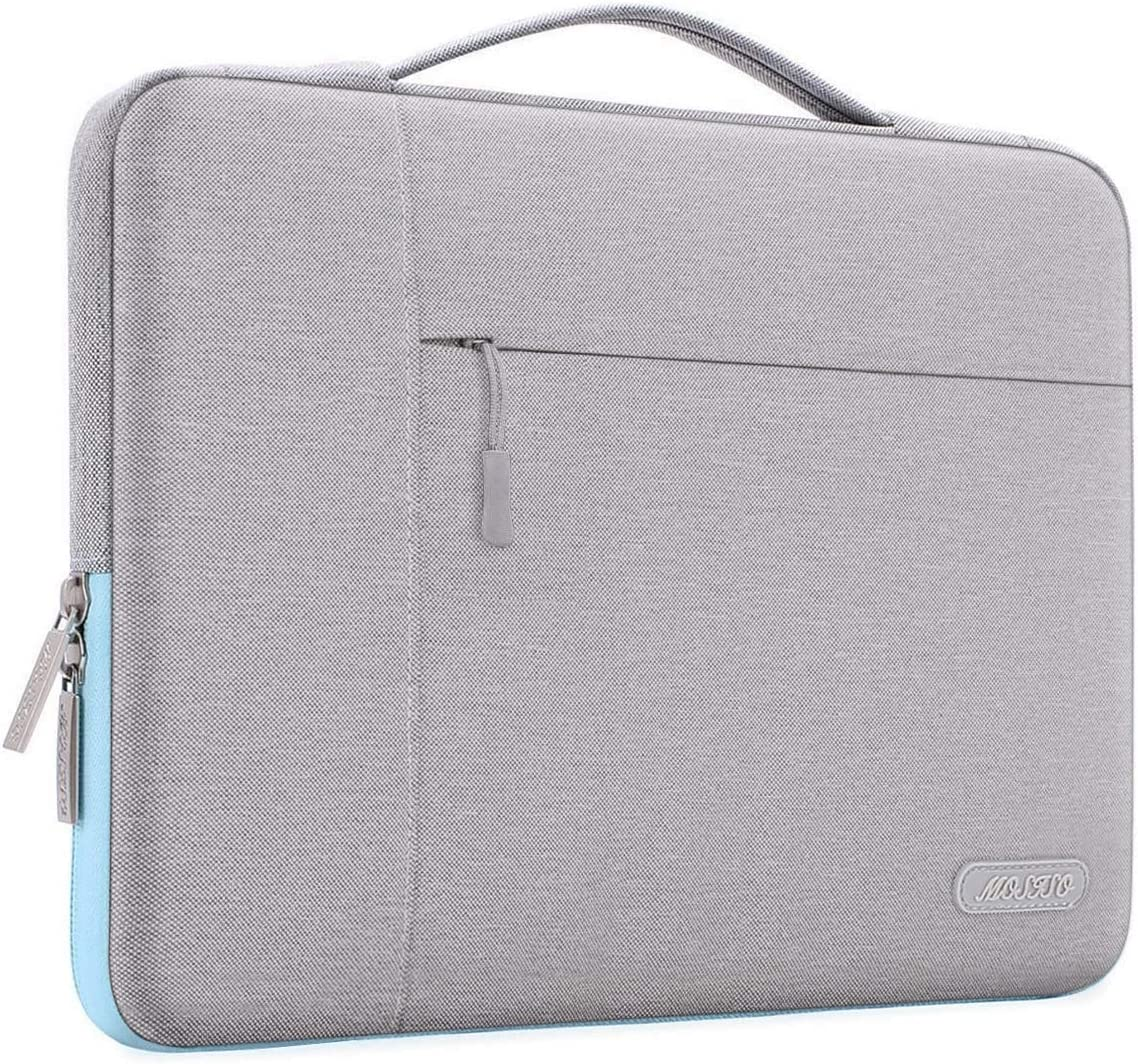 MOSISO Laptop Sleeve Compatible with MacBook Pro 16 inch, 15 15.4 15.6 inch Dell Lenovo HP Asus Acer Samsung Sony Chromebook,Polyester Multifunctional Briefcase Handbag Carrying Case Bag,Gray&Hot Blue