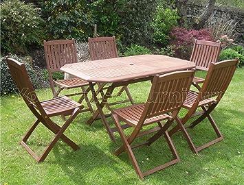 Canterbury 6 de madera muebles de jardín diseño cilíndrico ...