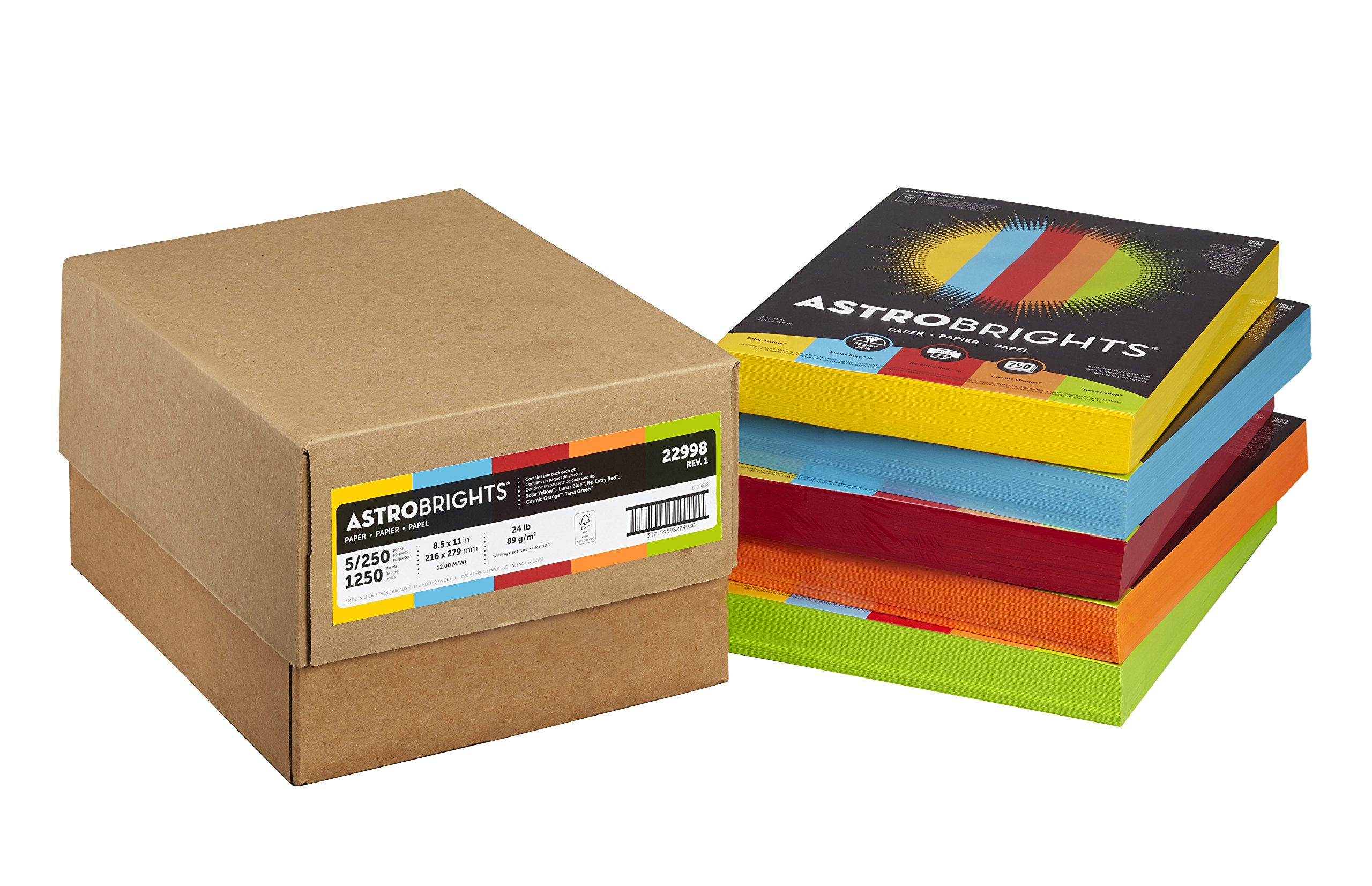 Astrobrights Color Paper, 8.5'' x 11'', 24 lb/89 gsm, Mixed Carton 5-Color Assortment, 1250 Sheets (22998) by Astrobrights