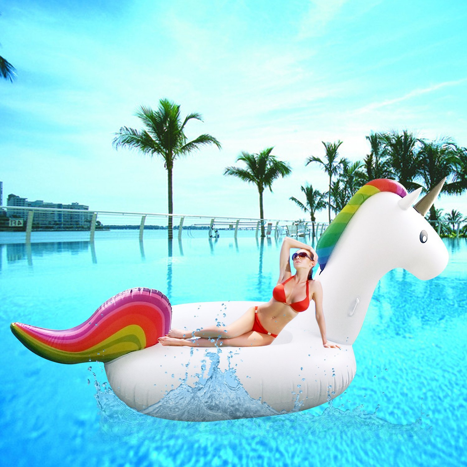 "Buy SoloFleet' Giant Inflatable Unicorn Pool Floats 108"" 275cm"