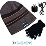 Wireless Bluetooth 4.1 Beanie Hat Cap with Music Phone Speakerphone Stereo Headset Headphone Earphone Speaker Mic for Fitness Outdoor Sports Walking Included Gloves,USB Charger and Charging Cable