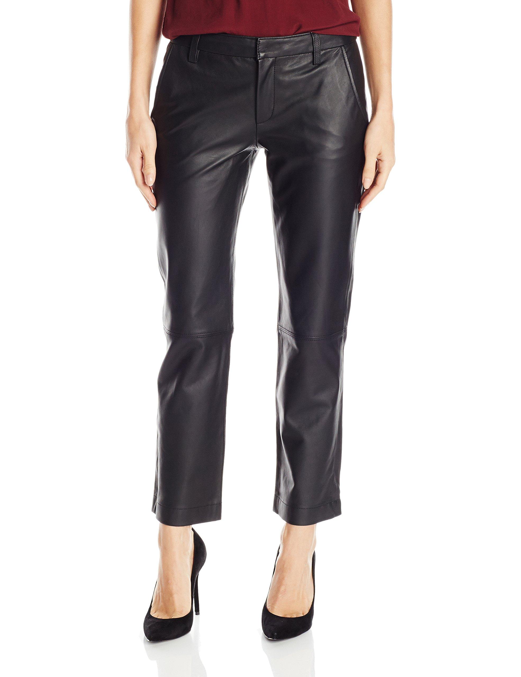 David Lerner Women's Leather Chino, Black, M