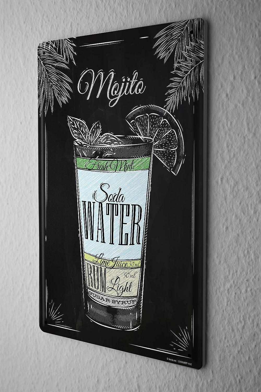 Cartello Targa in Metallo Manifesto Ricetta del cocktail Mojito Cuisine Leotie GmbH