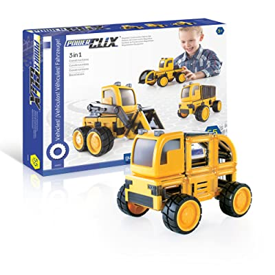 PowerClix Construction Vehicle Set: 55 Piece Magnetic Build-Your-Own Dump Truck, Bulldozer, and More - STEM Educational Building Toy for Kids: Toys & Games