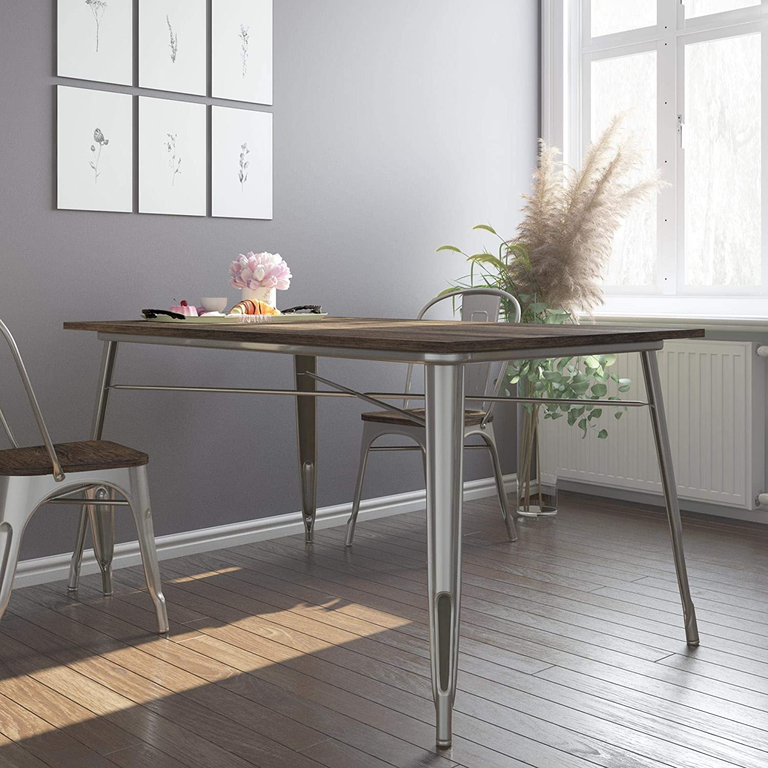 DHP Fusion Metal Rectangular Dining Table with Wood Table Top, Distressed Metal Finish for Industrial Appeal, Antique Gun Metal