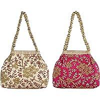 Keshav Industries 2 Pieces Embroidered Woman Potli Bag (Cream & Pink)-KSITC4079