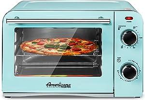 "Elite Gourmet Americana Elite ETO1200BL Vintage Diner 50's Retro Countertop Toaster oven Bake, Broil, Toast, Fits 9"" Pizza, Temperature Control & Adjustable 60-Minute Timer 1300W, 4 Slice, Mint Blue"