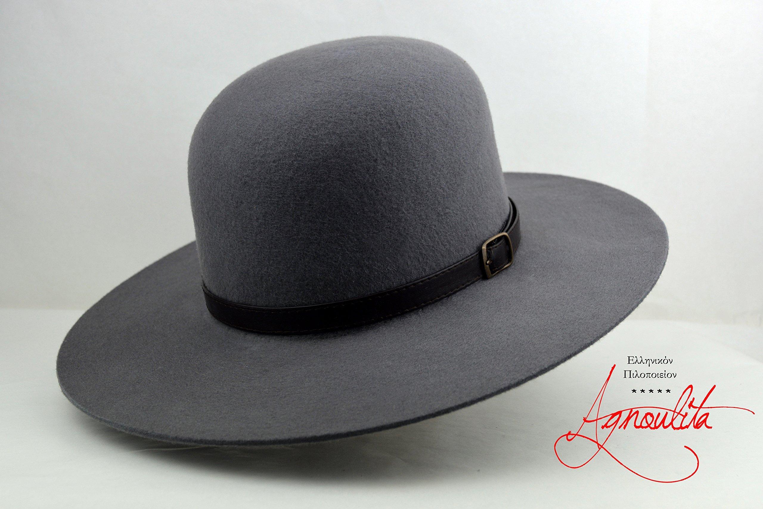Light Pewter Grey Tiller Hat - Wool Felt Round Crown Handmade Tiller Fedora Hat by HNC-HatWorks