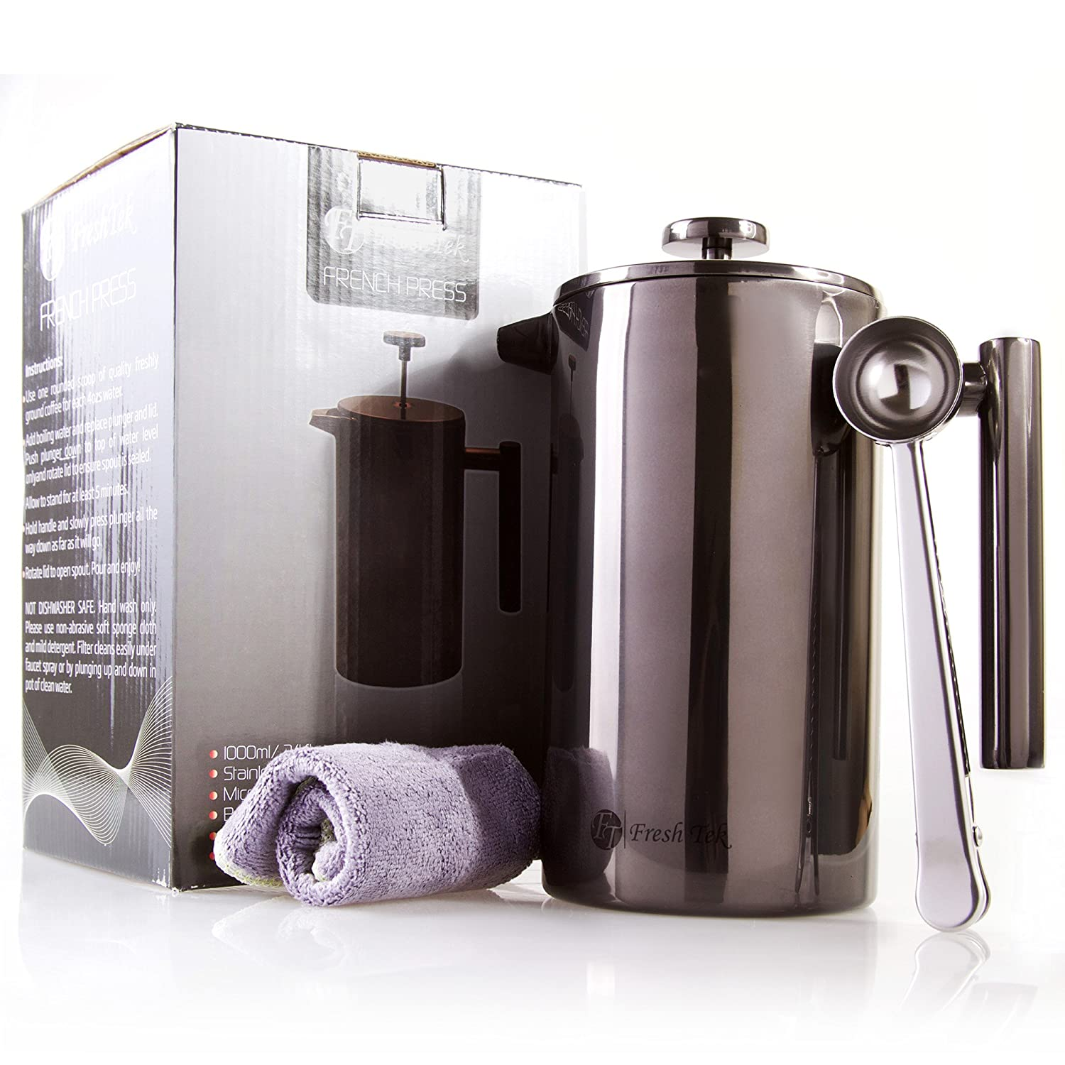 Insulated Double Wall Stainless Steel French Press Coffee Maker by FreshTek That Uses No Plastic or Glass (34oz)