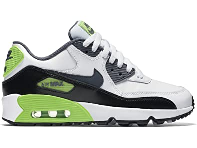 new product 97dc6 845ba Nike AIR MAX 90 LTR GS boys running-shoes 833412 White Cool Grey-Electric  Green-Black 6.5 Big Kid M  Amazon.in  Shoes   Handbags