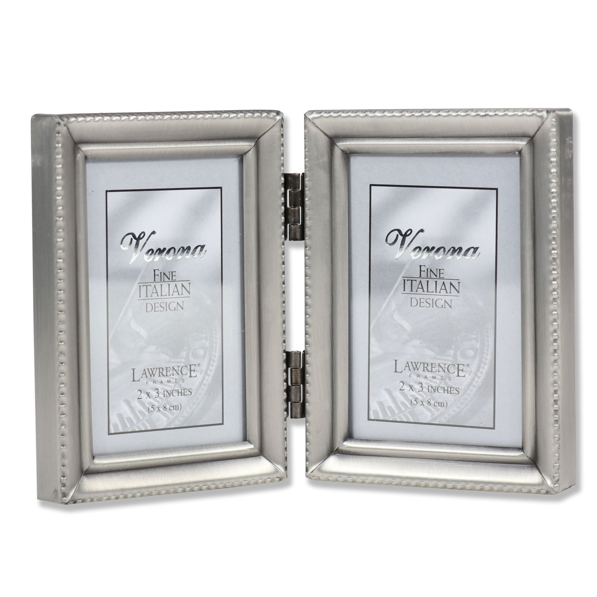 Lawrence Frames Antique Pewter Hinged Double 2x3 Picture Frame - Beaded Edge Design
