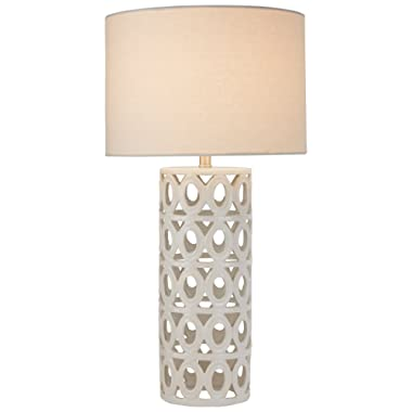 Stone & Beam Ceramic Geometric Table Lamp, 25 H, With Bulb, White Shade