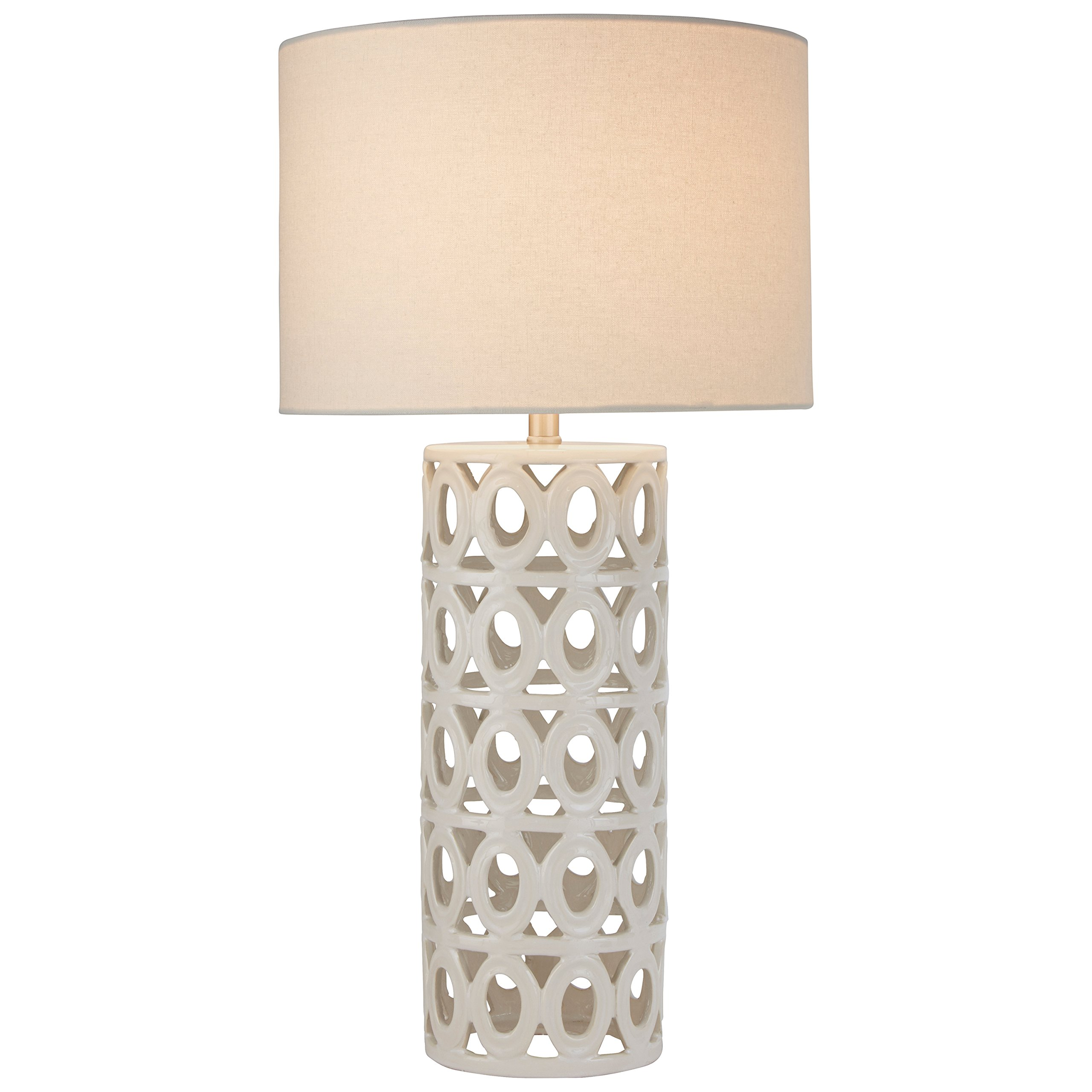 Stone & Beam Ceramic Geometric Table Lamp, 25''H, with Bulb, White Shade