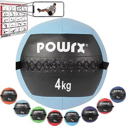POWRX Wall Ball Balón Medicinal 4 kg - Ideal para Ejercicios de »Functional Fitness«, fortalecimiento y tonificación Muscular - Agarre Antideslizante + PDF Workout (Celeste): Amazon.es: Deportes y aire libre