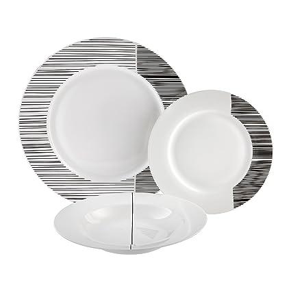 Dajar Modern – Vajilla de 18 Piezas. Ambition, Porcelana, Blanco Negro, 48