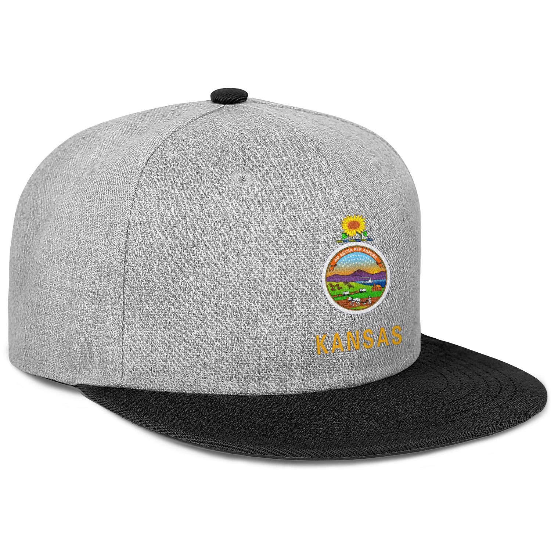 FYFYOK Mens Womens Flat Hats Kansas Flag The USA Snapback One Size Caps